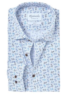 Michaelis Slim Fit overhemd, mouwlengte 7, wit met blauw fiets dessin