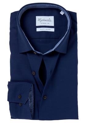Michaelis Slim Fit overhemd, mouwlengte 7, navy blauw Oxford (contrast)