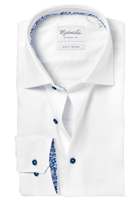 Michaelis Slim Fit overhemd, mouwlengte 7, wit Oxford (contrast)