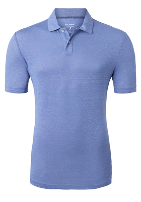 OLYMP Level 5 Body Fit poloshirt (stretch), lichtblauw linnen