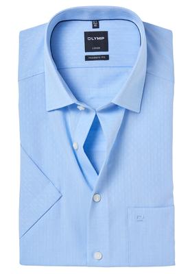 OLYMP Modern Fit, overhemd korte mouw, lichtblauw ingeweven dessin