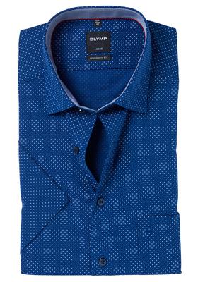OLYMP Modern Fit, overhemd korte mouw, blauw-wit gestipt (contrast)