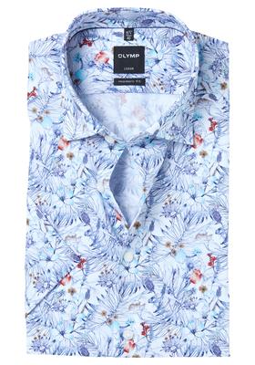 OLYMP Modern Fit, overhemd korte mouw, bloem dessin