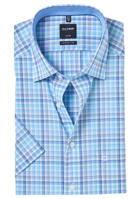 OLYMP Modern Fit, overhemd korte mouw, blauw-mint geruit (contrast)