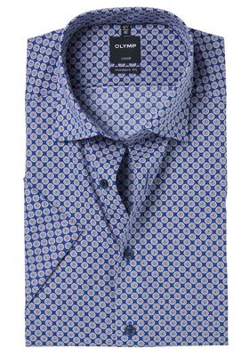 OLYMP Modern Fit, overhemd korte mouw, blauw-bruin dessin
