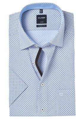 OLYMP Modern Fit, overhemd korte mouw, lichtblauw-bruin dessin (contrast)