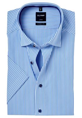 OLYMP Modern Fit, overhemd korte mouw, blauw gestreept