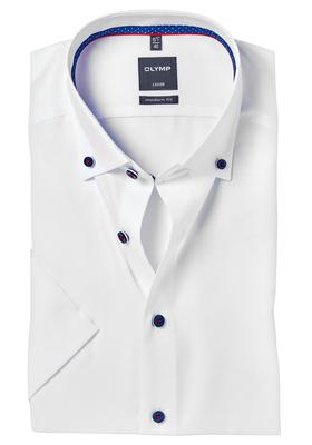 OLYMP Modern Fit, overhemd korte mouw, wit button-down (contrast)