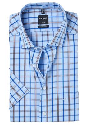OLYMP Modern Fit, overhemd korte mouw, 2-ply blauw-bruin geruit