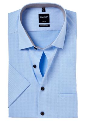OLYMP Modern Fit, overhemd korte mouw, 2-ply lichtblauw gestipt (contrast)