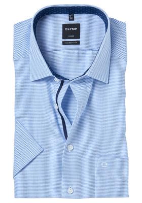 OLYMP Modern Fit, overhemd korte mouw, lichtblauw structuur (contrast)