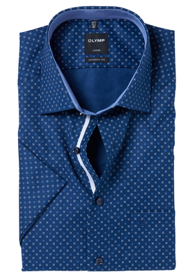 OLYMP Modern Fit, overhemd korte mouw, blauw structuur dessin (contrast)