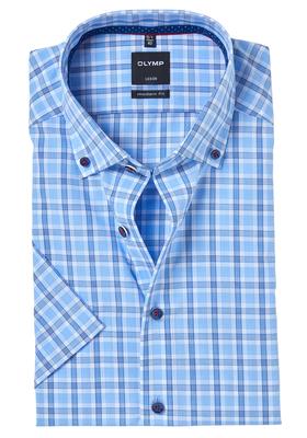OLYMP Modern Fit, overhemd korte mouw, blauw geruit button-down (contrast)