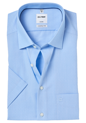 OLYMP Comfort Fit, overhemd korte mouw, lichtblauw ingeweven dessin