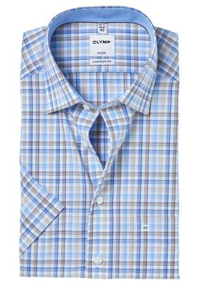 OLYMP Comfort Fit, overhemd korte mouw, blauw-bruin geruit (contrast)