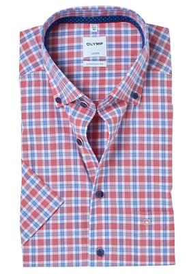 OLYMP Comfort Fit, overhemd korte mouw, blauw-rood geruit button-down (contrast)