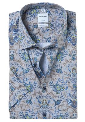OLYMP Comfort Fit, overhemd korte mouw, lichtblauw-bruin dessin