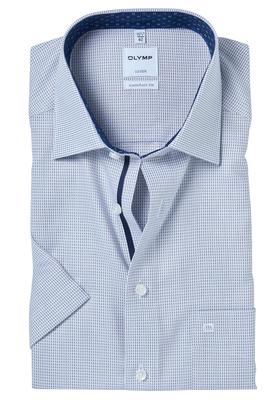 OLYMP Comfort Fit, overhemd korte mouw, lichtblauw-bruin structuur (contrast)