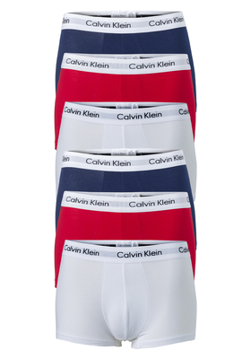Actie 6-pack: Calvin Klein Low Rise Trunks, rood- wit en blauw