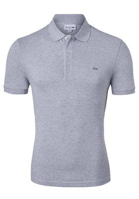 Lacoste stretch Slim Fit polo, zilvergrijs melange (extra getailleerd)