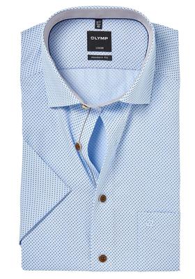 OLYMP Modern Fit, overhemd korte mouw, lichtblauw structuur met stip (contrast)