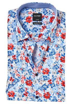 OLYMP Modern Fit, overhemd korte mouw, gebloemd structuur met bloemen (contrast)