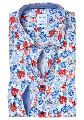 OLYMP Comfort Fit overhemd, gebloemd structuur met bloemen (contrast)