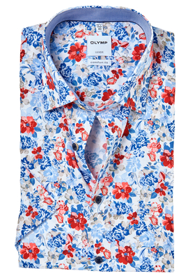 OLYMP Comfort Fit, overhemd korte mouw, gebloemd structuur met bloemen (contrast)
