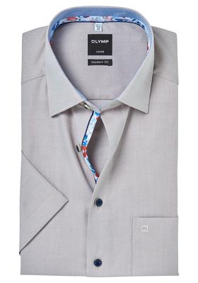 OLYMP Modern Fit, overhemd korte mouw, beige structuur (contrast)