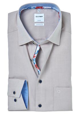 OLYMP Comfort Fit overhemd, beige structuur (contrast)