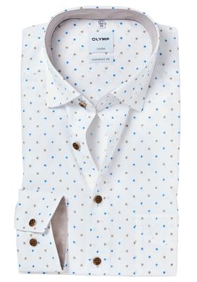 OLYMP Comfort Fit overhemd, wit structuur met dessin (contrast)