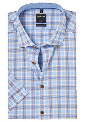 OLYMP Modern Fit, overhemd korte mouw, lichtblauw-beige geruit (contrast)
