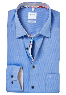OLYMP Comfort Fit overhemd, blauw structuur (contrast)