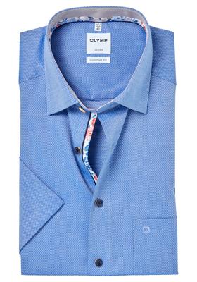 OLYMP Comfort Fit, overhemd korte mouw, blauw structuur (contrast)