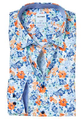 Bloemen Overhemd.Olymp Comfort Fit Overhemd Gebloemd Structuur Met Bloemen Contrast