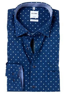OLYMP Comfort Fit overhemd, donkerblauw structuur met dessin (contrast)