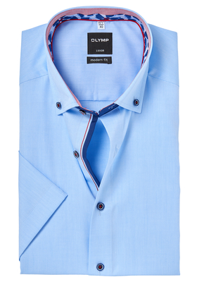 OLYMP Modern Fit, overhemd korte mouw, lichtblauw mini structuur (contrast)