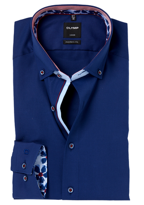OLYMP Modern Fit mouwlengte 7, donkerblauw mini structuur (contrast)