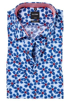 OLYMP Modern Fit, overhemd korte mouw, lichtblauw structuur met bloemen (contrast)