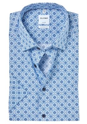 OLYMP Comfort Fit, overhemd korte mouw, lichtblauw dessin