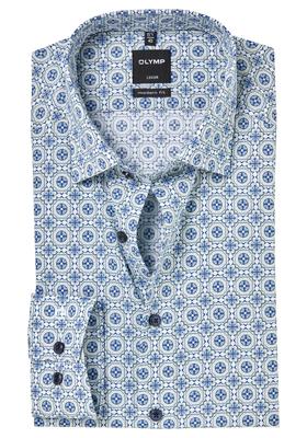 OLYMP Modern Fit overhemd, blauw-beige dessin