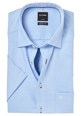 OLYMP Modern Fit, overhemd korte mouw, lichtblauw 2-ply mini structuur (contrast)
