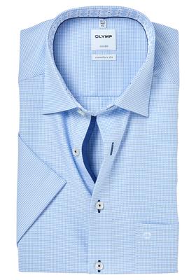 OLYMP Comfort Fit, overhemd korte mouw, lichtblauw 2-ply mini structuur (contrast)