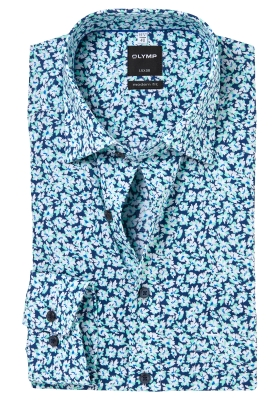 OLYMP Modern Fit overhemd, blauw-mint dessin