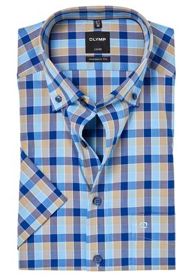 OLYMP Modern Fit, overhemd korte mouw, blauw-beige geruit