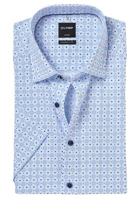 OLYMP Modern Fit, overhemd korte mouw, lichtblauw met wit structuur dessin (contrast)
