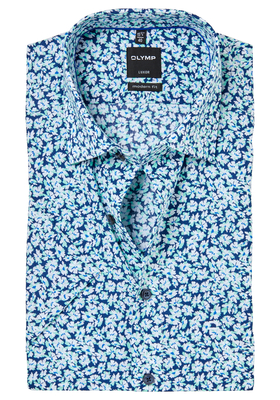 OLYMP Modern Fit, overhemd korte mouw, blauw-mint dessin