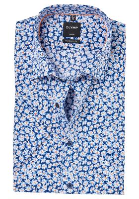 OLYMP Modern Fit, overhemd korte mouw, blauw-oranje dessin