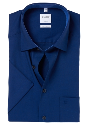 OLYMP Comfort Fit, overhemd korte mouw, blauw mini structuur (contrast)
