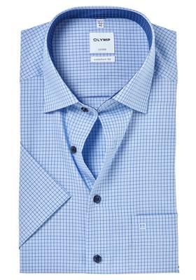 OLYMP Comfort Fit, overhemd korte mouw, lichtblauw geruit (contrast)